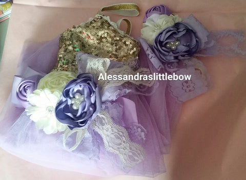Ivory and Lavender sash and headband set