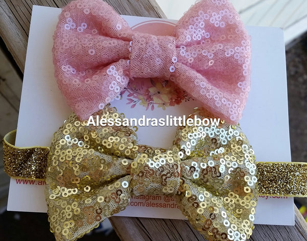 Gracie sequin hair bow - AlessandrasLittleBow
