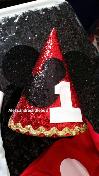 Mickey Mouse birthday hat - AlessandrasLittleBow