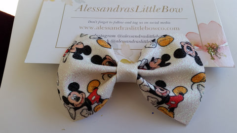 Mickey mouse glittery faux leather bow
