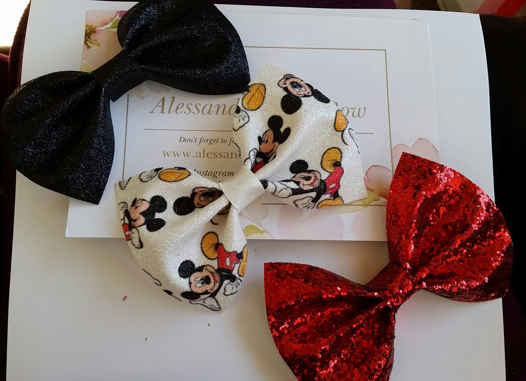 Mickey mouse bow set - AlessandrasLittleBow