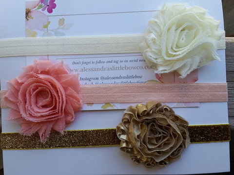 Gracie shabby chic headband set - AlessandrasLittleBow
