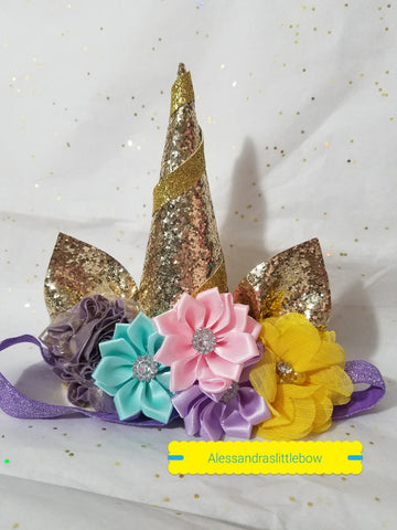 Light Gold unicorn headband - AlessandrasLittleBow