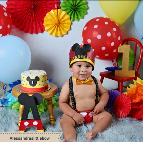 Mickey mouse Red full head birthday crown - AlessandrasLittleBow