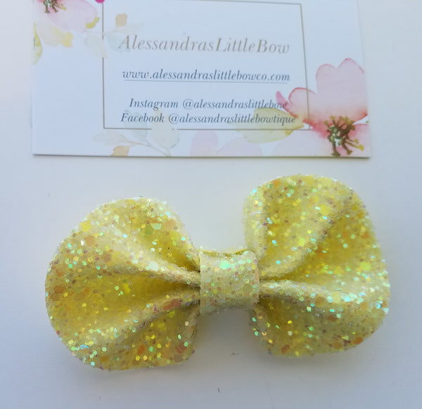 Light Yellow Lucy glitter Bow - AlessandrasLittleBow