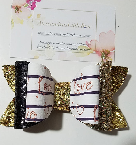 """Love"" Inside Out double glitter bow"