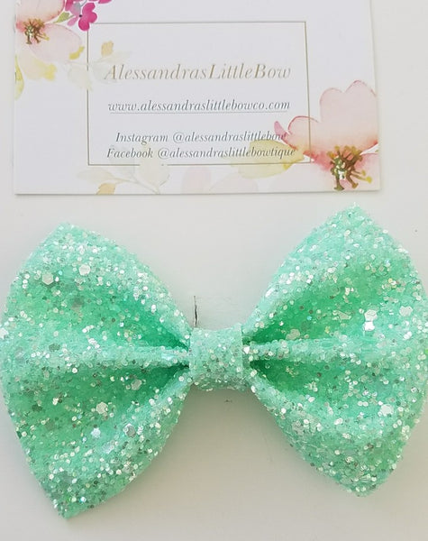 Mint statement bow - AlessandrasLittleBow
