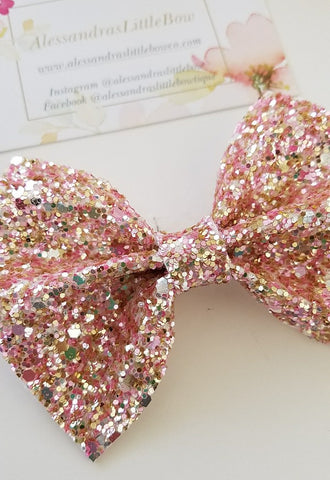 Rose gold statement bow