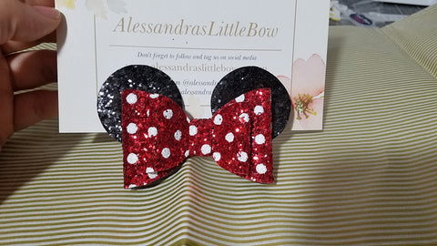 Minnie Ears glitter bow - AlessandrasLittleBow