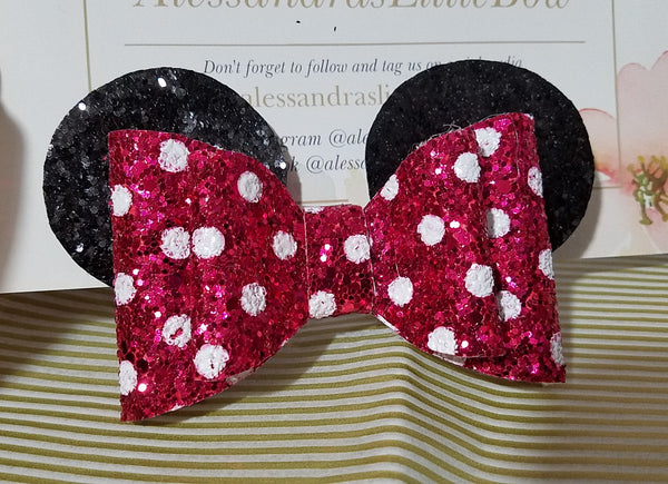 Hot pink Minnie Ears glitter bow - AlessandrasLittleBow