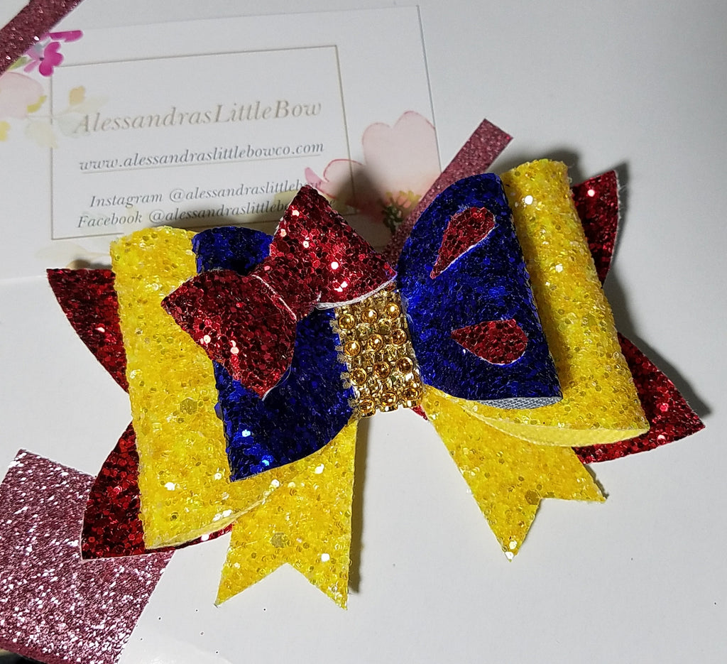 Snow White inspired glitter bow - AlessandrasLittleBow