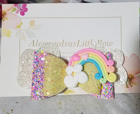 Over the Rainbow Glitter bow - AlessandrasLittleBow