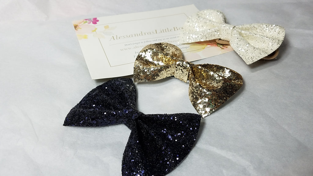 Back to School Uniform Glitter bow set - AlessandrasLittleBow