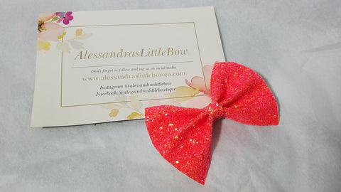 Persuasion Orange Glitter statement bow - AlessandrasLittleBow