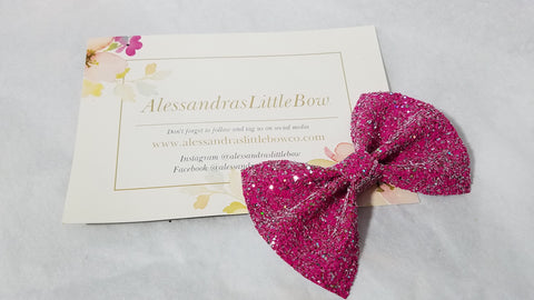 Little Pink Glitter statement bow