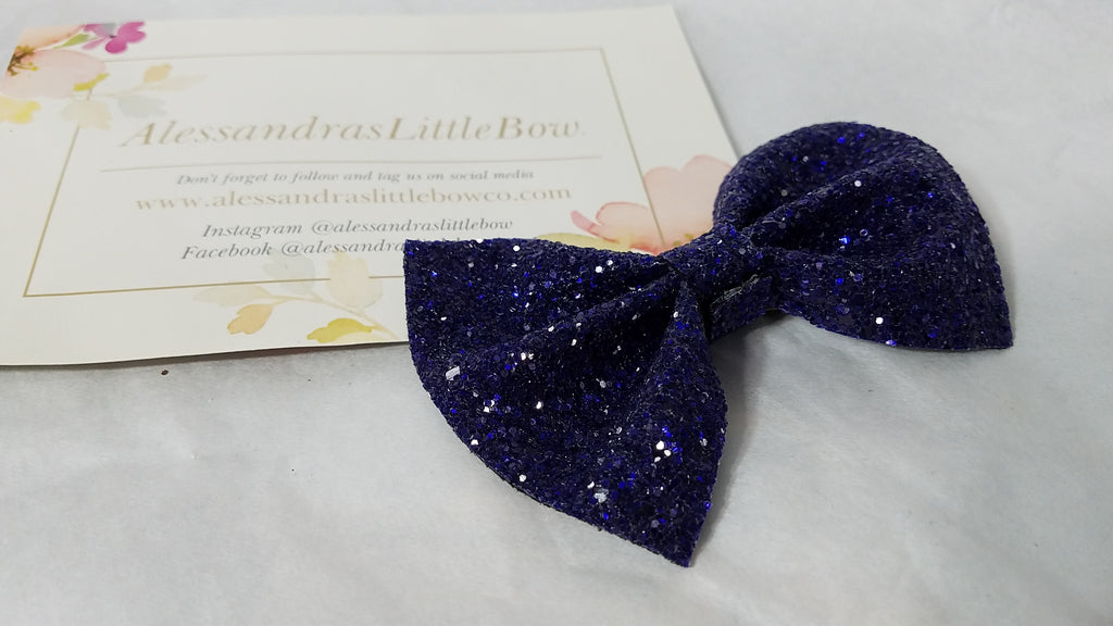 Violet Glitter statement bow