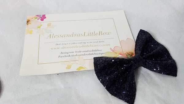 Navy Blue Glitter statement bow - AlessandrasLittleBow