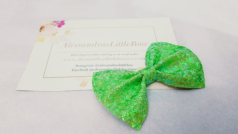 Green Apple Glitter statement bow