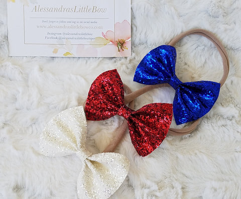 Red, white and blue Statement bow set - AlessandrasLittleBow