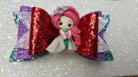 "Ariel Christmas Princess Clay Bow 4"" - AlessandrasLittleBow"