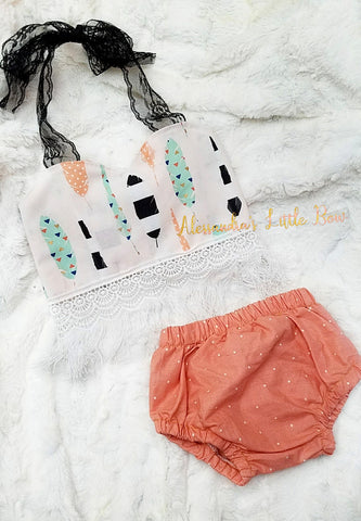 Boho Feather Cropped set - AlessandrasLittleBow