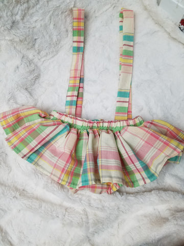Pastel Plaid Skirted Bloomers with Suspenders - AlessandrasLittleBow