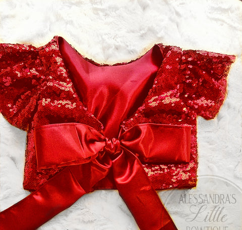 Charlize Red Sequin Top - AlessandrasLittleBow