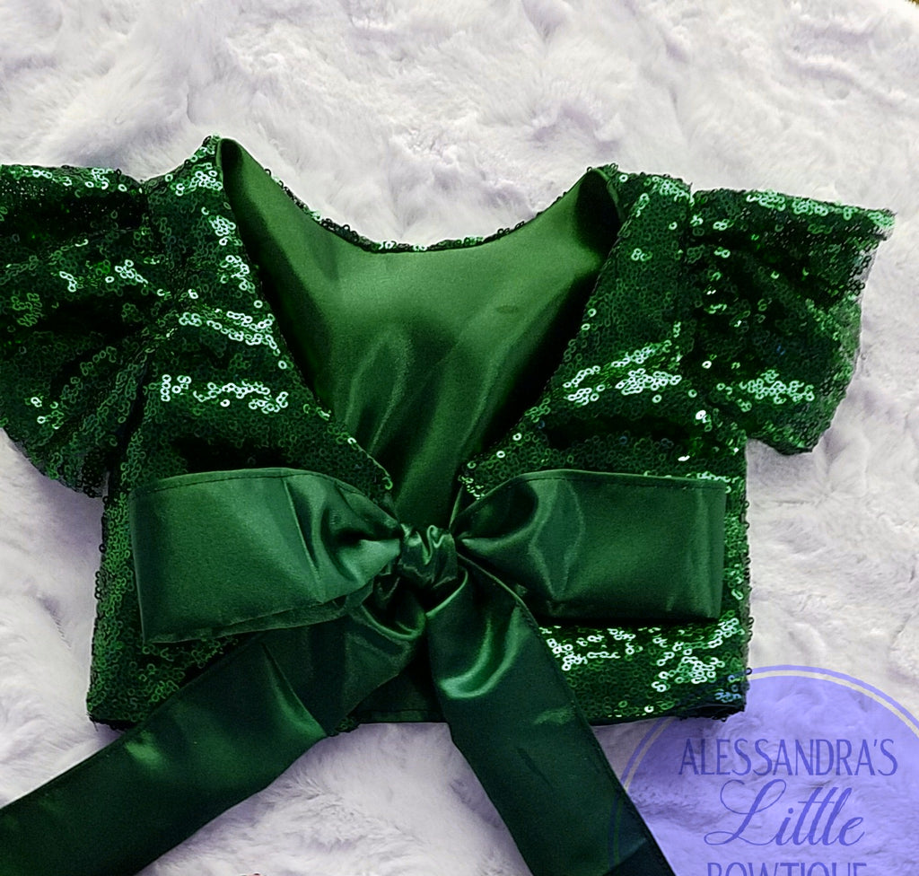 Charlize Green Sequin Top - AlessandrasLittleBow