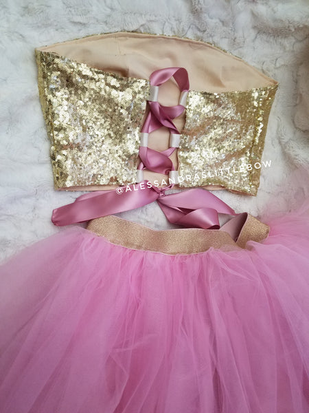 Mommy Strapless sequined top - AlessandrasLittleBow