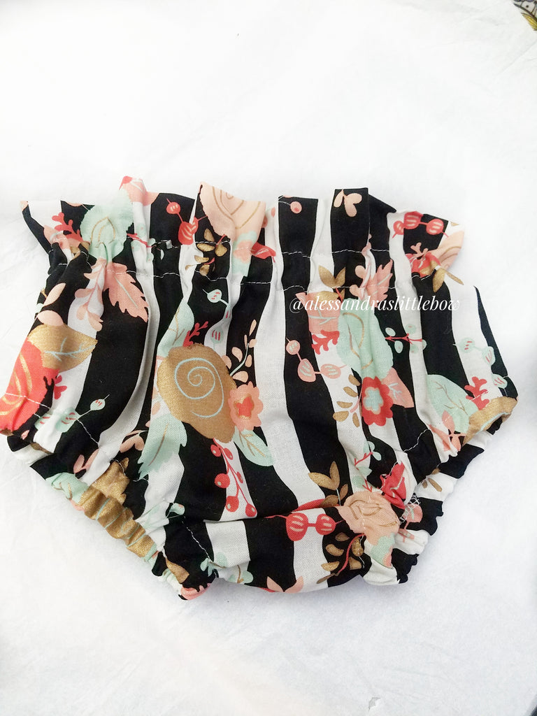 Black Stripped Floral High waisted Bummies - AlessandrasLittleBow