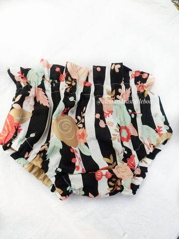 Black Stripped Floral High waisted Bummies