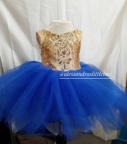 High Low Deluxe Couture Dress in Royal Blue and Gold - AlessandrasLittleBow