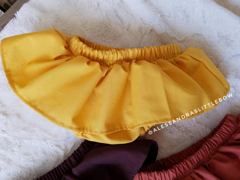 Mustard skirted bloomers - AlessandrasLittleBow