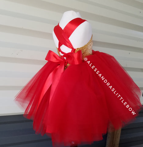 Sweetheart Couture dress in Red and Gold