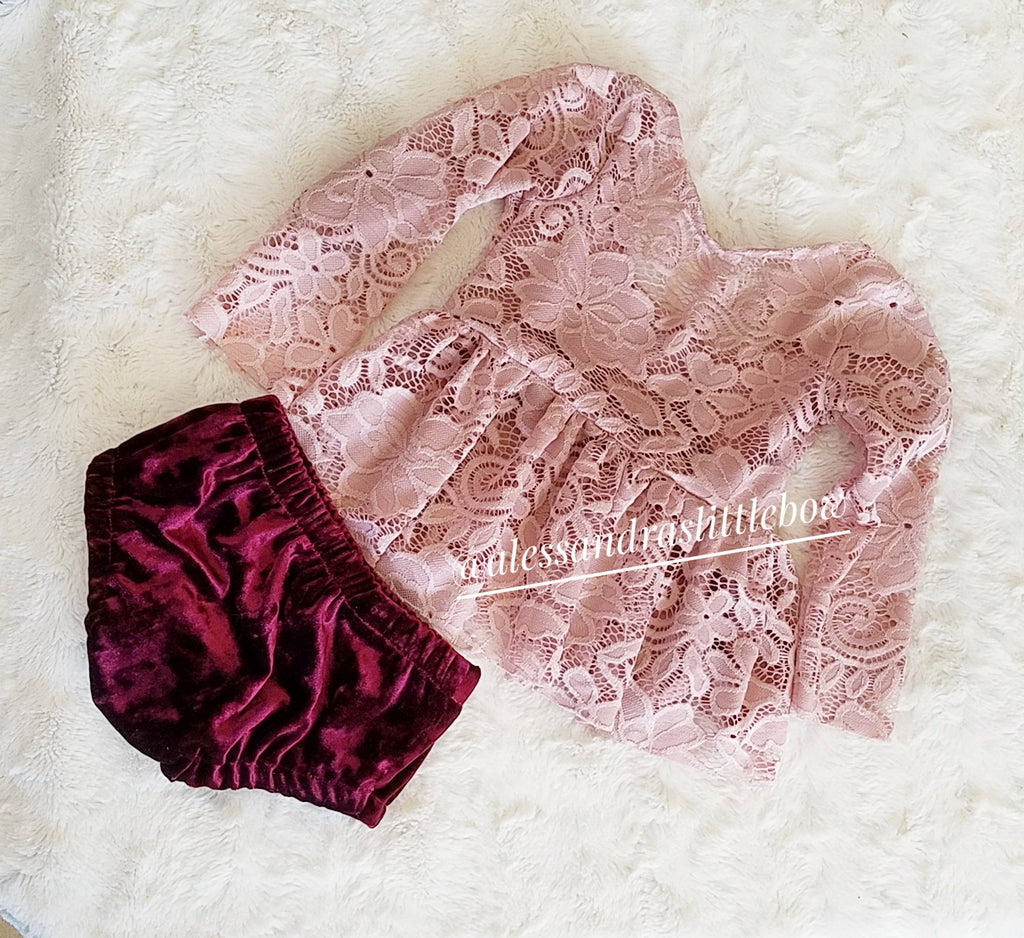 Rose Mauve Lace Peplum Set
