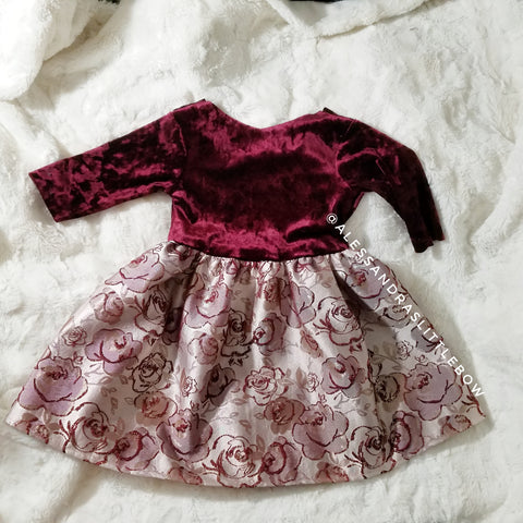 Burgandy Rosette velvet dress - AlessandrasLittleBow
