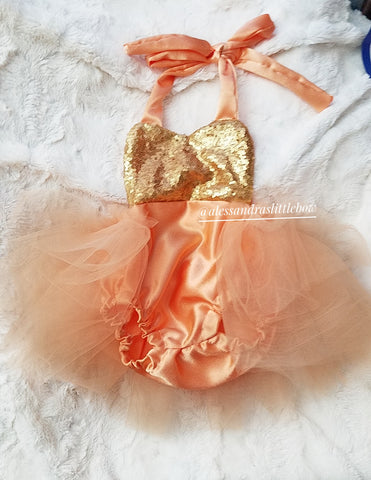 Peach and gold sequin Romper - AlessandrasLittleBow