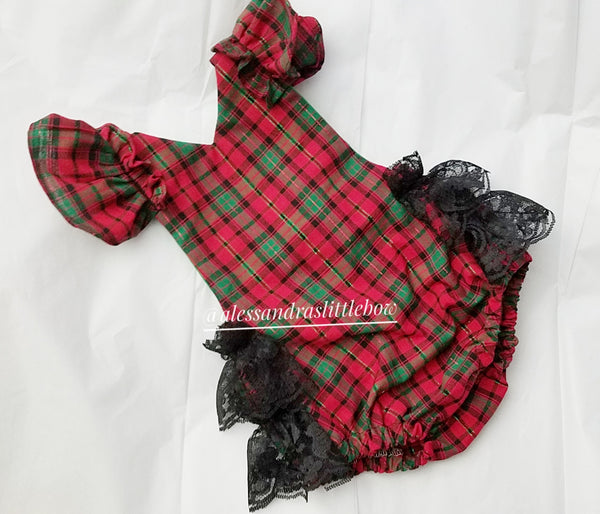 Red and Green Plaid Romper