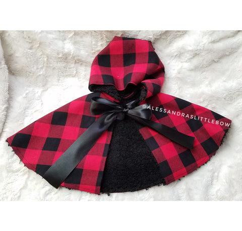 Buffalo Plaid Sherpa Cape - AlessandrasLittleBow