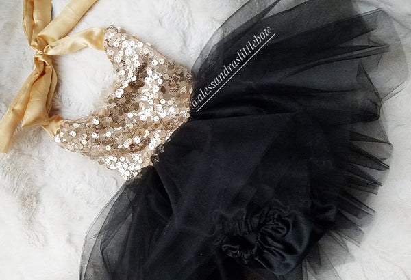 Milani Romper in Black and gold sequins
