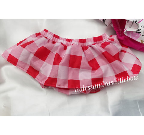 Pink and red Gingham Plaid Skirted Bloomers - AlessandrasLittleBow