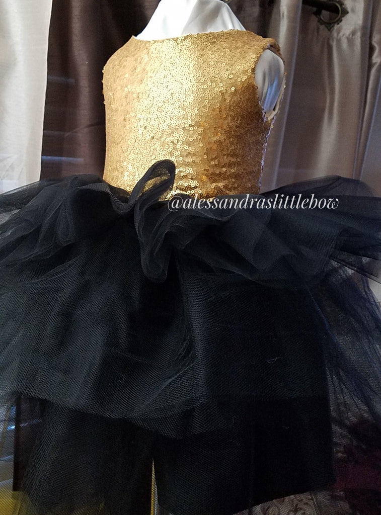 Allyson dress Black and gold sequin - AlessandrasLittleBow