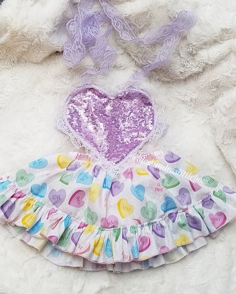 Sweet Hearts Pinafore Dress - AlessandrasLittleBow