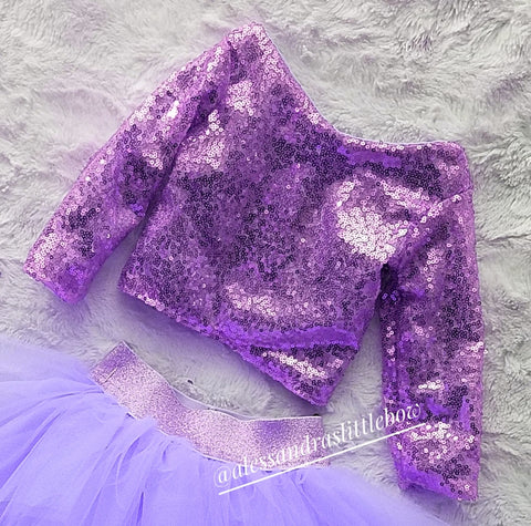 Princess cropped Sequin top in lavender