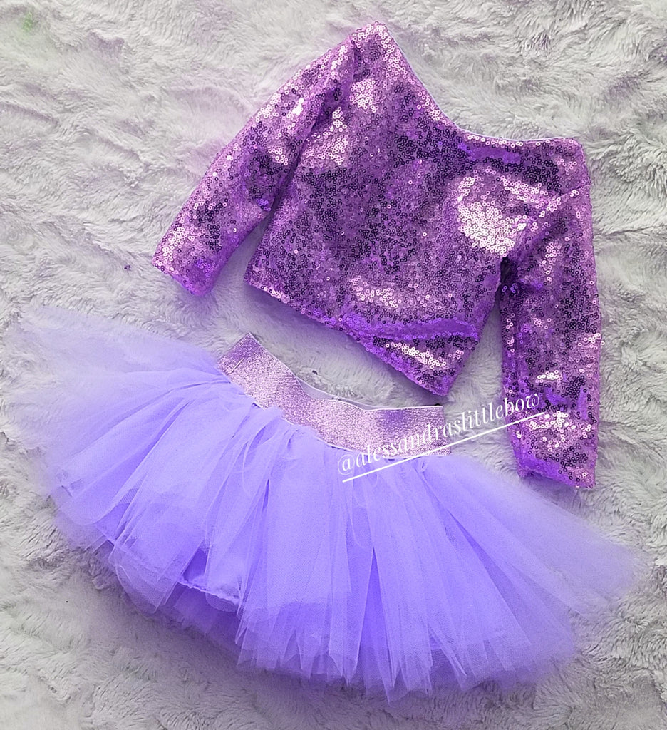 Luxury Tutu and Sequin Top Set in Lavender - AlessandrasLittleBow