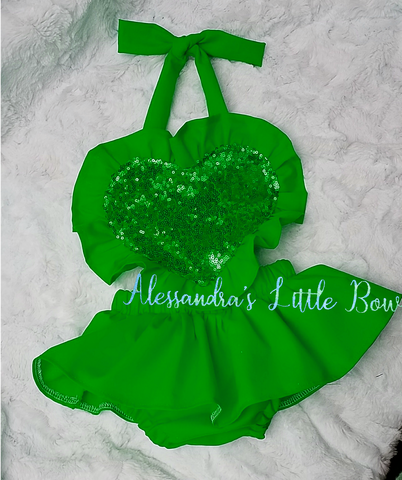 Green heart Ruffle Romper