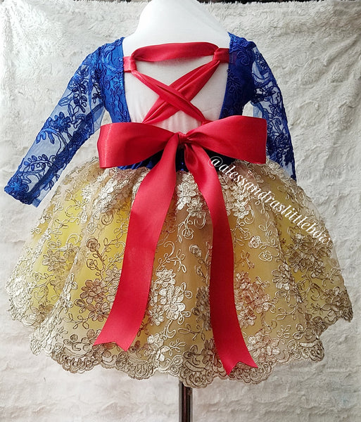 Princess Amber Couture Dress in Snow White Colors - AlessandrasLittleBow