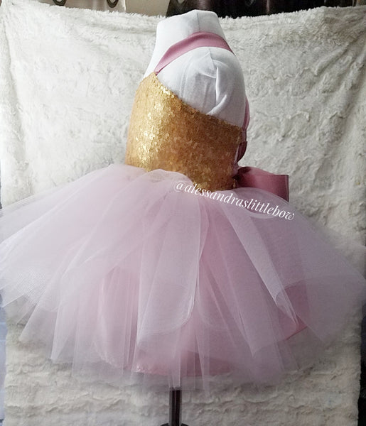 Sweetheart Couture dress in Pink and Gold - AlessandrasLittleBow