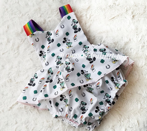 Minnie and Mickey St. Patrick's Romper - AlessandrasLittleBow