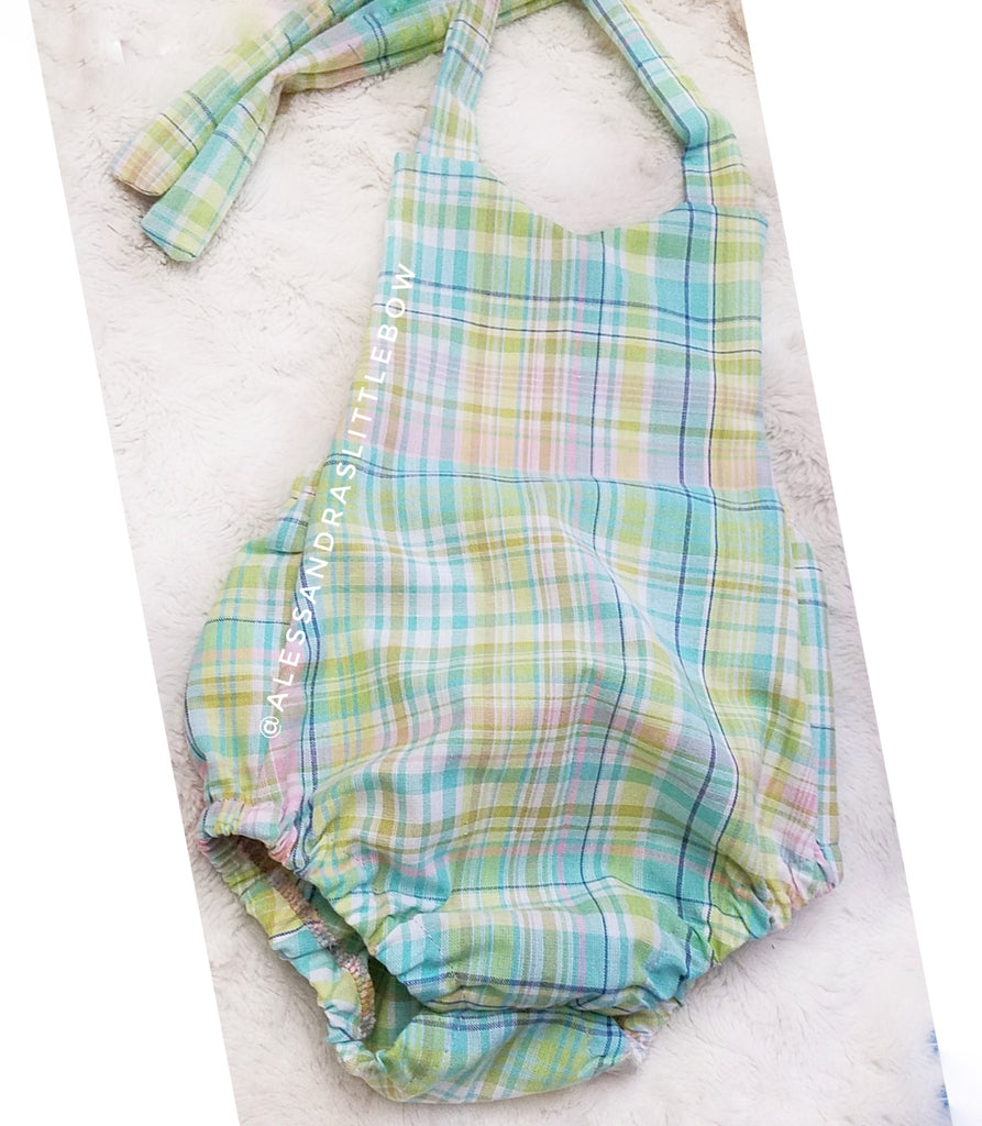 Spring Plaid BUBBLE ROMPER - AlessandrasLittleBow